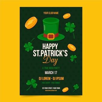 St. patrick's day flyer sjabloon plat ontwerp