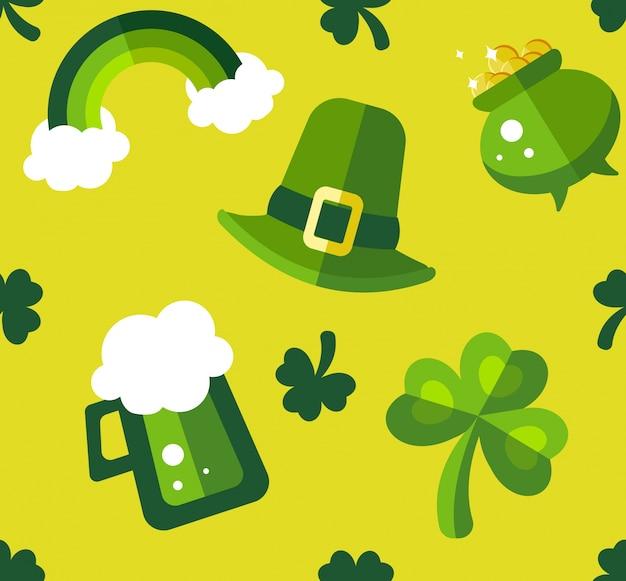 St patrick's day groen en geel naadloos patroon.
