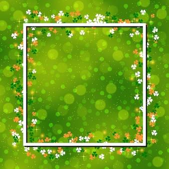 St.patrick's day groene achtergrond met klaver bladeren
