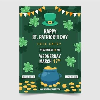 St. patrick's day hand getrokken flyer-sjabloon