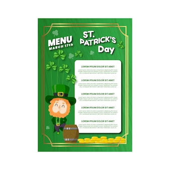St. patrick's day hand getrokken menusjabloon