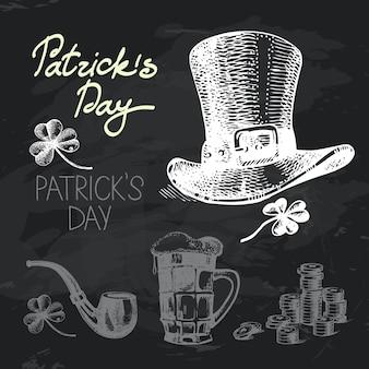 St. patrick's day hand getrokken schoolbord ontwerpset. zwarte krijttextuur