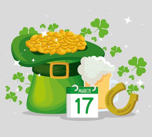 St patrick's day hoed met gouden munten en hoefijzer