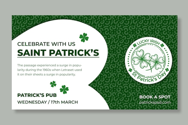 St. patrick's day horizontale banner plat ontwerp