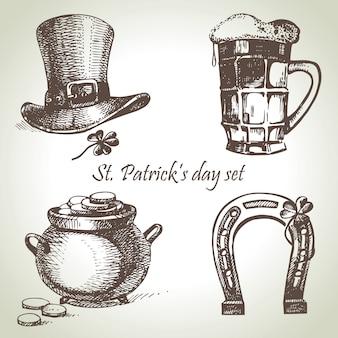 St. patrick's day ingesteld. hand getekende illustraties