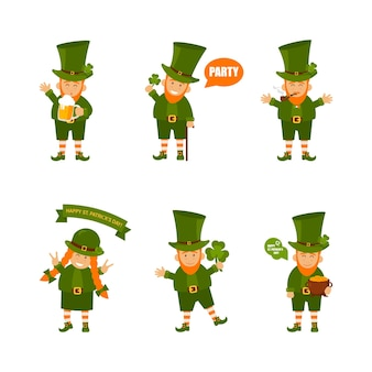 St. patrick's day ingesteld. kabouter set