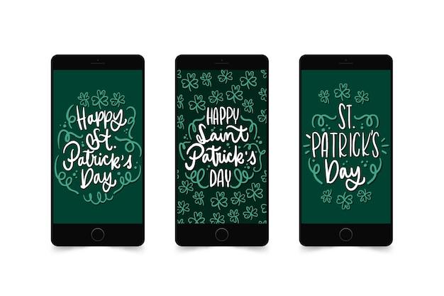 St. patrick's day instagram-verhalen op mobiele telefoon