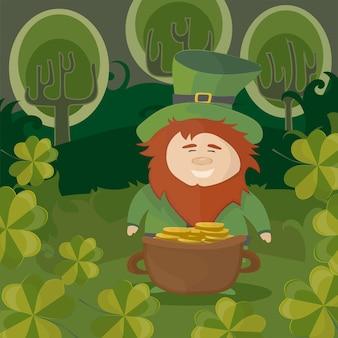 St. patrick's day. kabouter met een pot met gouden munten in een bos - traditioneel nationaal karakter van ierse folklore