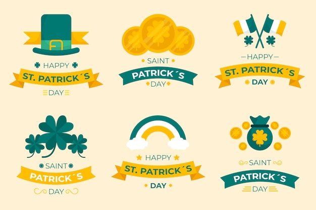 St. patrick's day labelcollectie in plat ontwerp