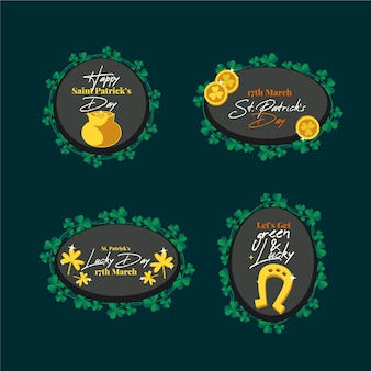 St. patrick's day labels en badges plat ontwerp