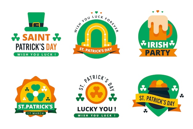 St. patrick's day labels en badges vlakke stijl