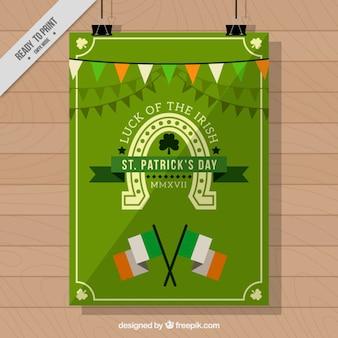 St patrick's day leaflet met vlaggen en slingers