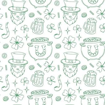 St. patrick's day naadloze patroon ontwerp achtergrond