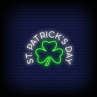 St. patrick's day neon signs style text