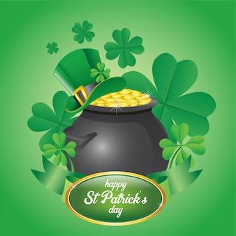 St. patrick's day ontwerpt een pot vol met gouden munten