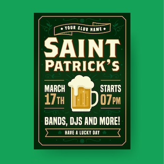 St. patrick's day partij poster of folder sjabloon met bier