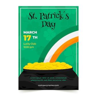 St. patrick's day partij poster of folder sjabloon met regenboog en munten