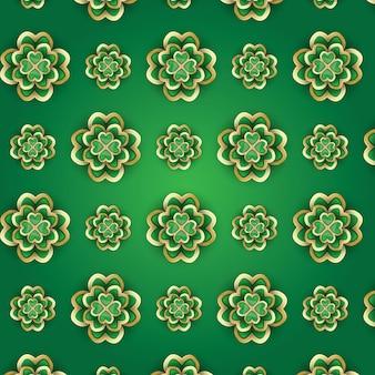 St. patrick's day patroon met 3d klaver. vector illustratie.