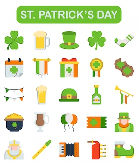 St. patrick's day pictogrammen instellen in vlakke stijl
