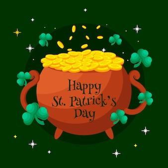 St. patrick's day platte ontwerp ketel