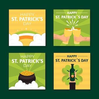 St. patrick's day platte ontwerpverhalen sjabloon