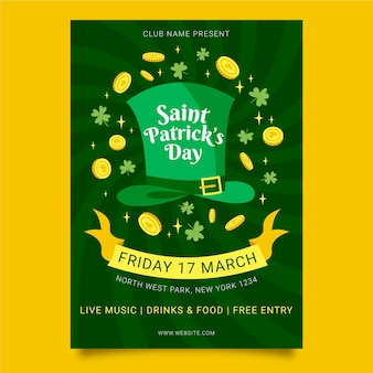 St. patrick's day poster sjabloon hand getrokken