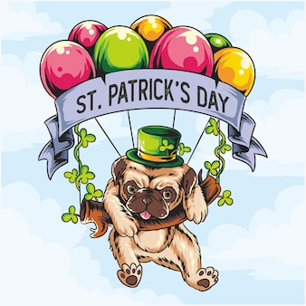 St. patrick's day pug hond die met ballon vliegt
