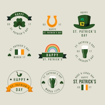 St. patrick's day retro labels en badges collectie