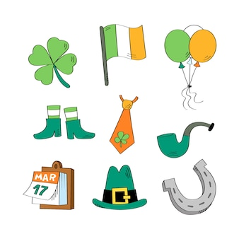 St. patrick's day set collection met lucky en party objects