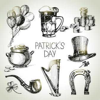 St. patrick's day-set. handgetekende illustraties