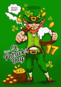 St. patrick's day uitnodigingskaart. characterdesign voor banner of webside, illustratie feest partij posterontwerp op groene achtergrond.