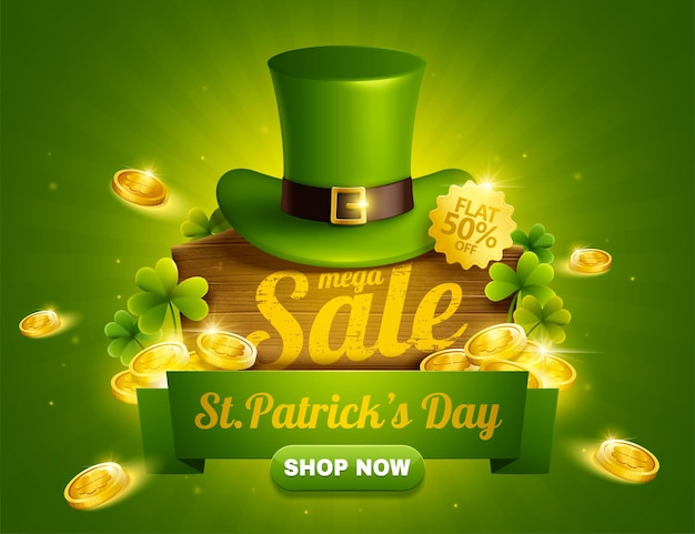St. patrick's day-verkoop pop-upadvertenties met groene kabouterhoed en gouden munten