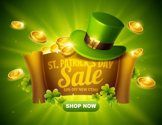 St. patrick's day-verkoop pop-upadvertenties op scroll met groene kabouterhoed en gouden munten