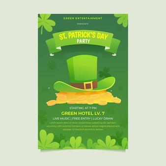 St. patrick's day verticale poster sjabloon met hoed en munten