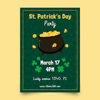 St. patrick's day verticale poster sjabloon met munten en ketel