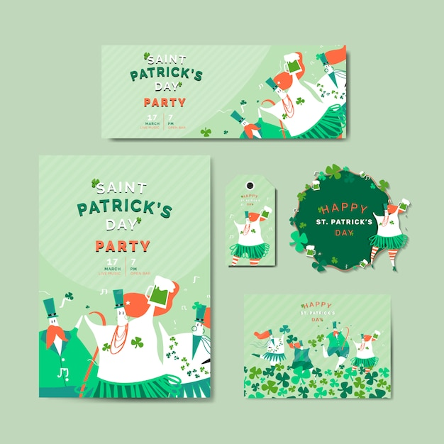 St. patrick's day viering vastgestelde lay-out vector