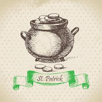 St. patrick's day vintage achtergrond. handgetekende illustratie
