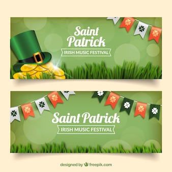 St. patrick's kransen en hoed banners