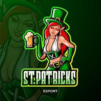 St. patrick's vrouwelijk kabouter esport logo-ontwerp