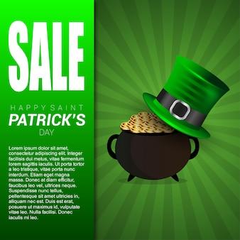 St patrick verkoopbanner met groene patroonachtergrond