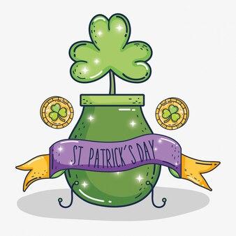 St patrick viering met ketel en klaver