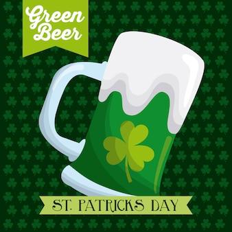 St patricks dag groen bierglas poster