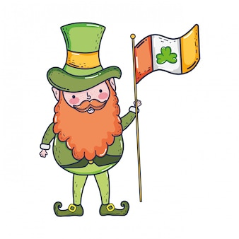 St patricks dag kabouter met de vlag van ierland