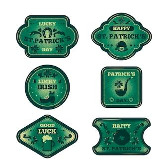 St. patricks dag label collectie in vintage stijl