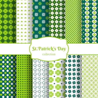 St patricks dag naadloze patroon achtergrond set met groene bladeren van klaver