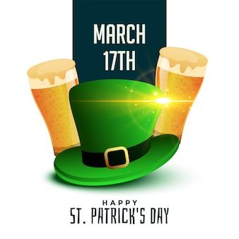 St patricks dagachtergrond met bier en hoed