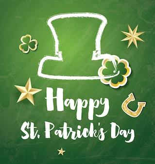 St. patricks day card met gouden sterren en klaverbladeren. vectorillustratie. Premium Vector