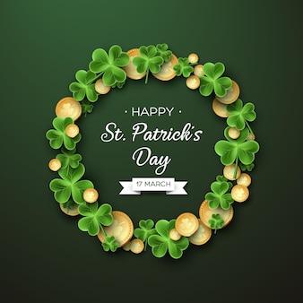 St. patricks day-kaart. krans met klaverblaadjes en munten.