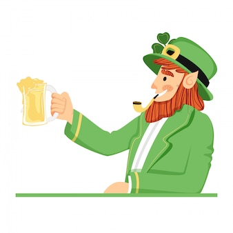 St. patricks day leprechaun character.
