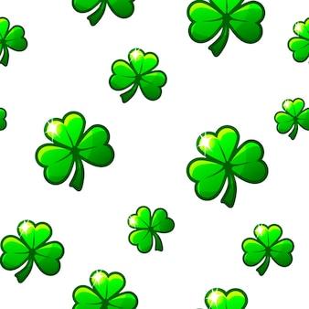 St. patricks day naadloze patroon met groene klaverblaadjes.